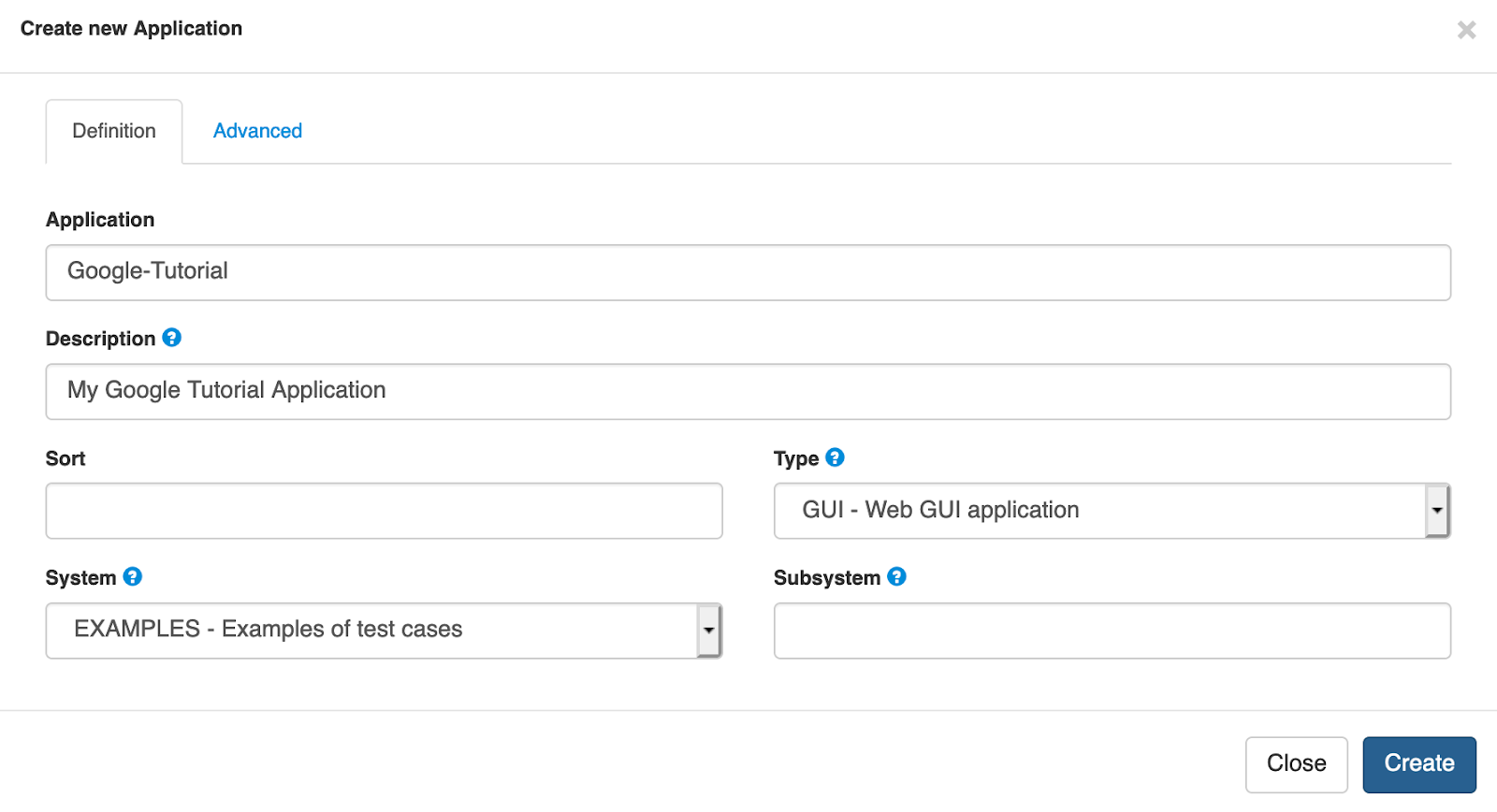 Create Application Form in Cerberus Testing