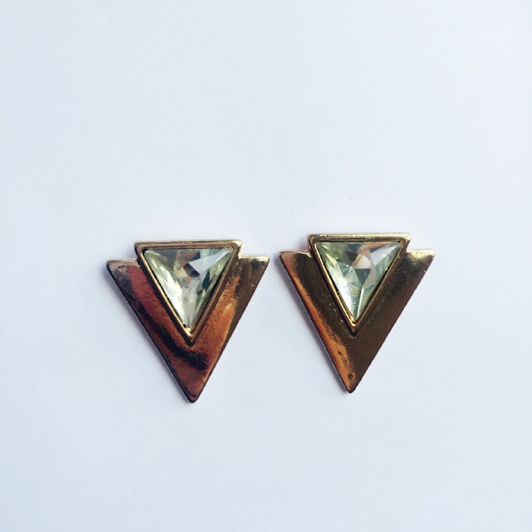 E021 - G. Chevron Crystal Earrings by House of LaBelleD.