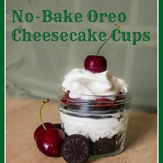 No-bake Oreo Cheesecake Cups with Cherries.