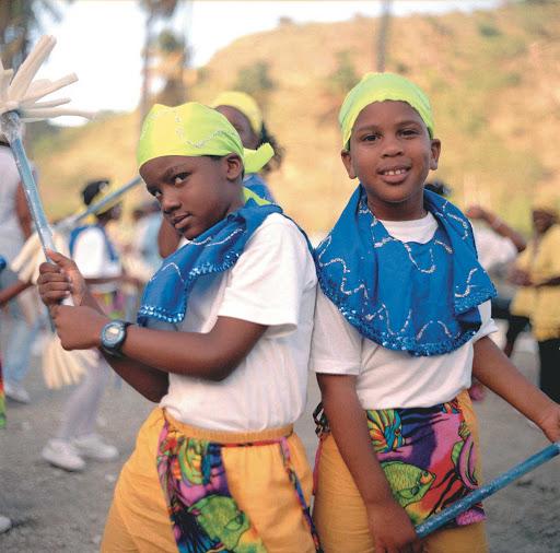 Montserrat-two-boys - Two boys at a festival on Montserrat.
