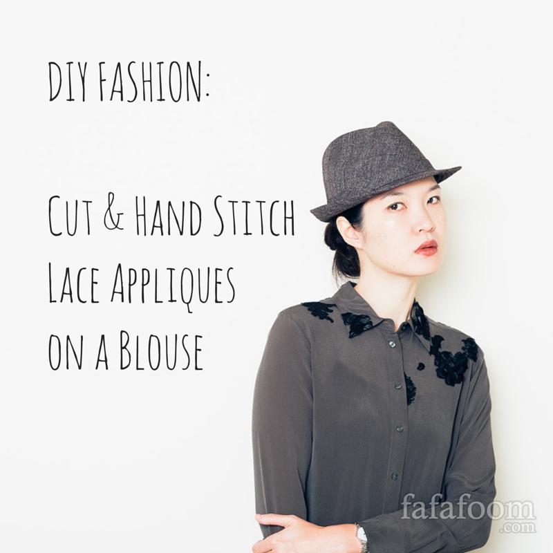 DIY Lace Appliqués on Blouse - DIY Fashion Garments | fafafoom.com