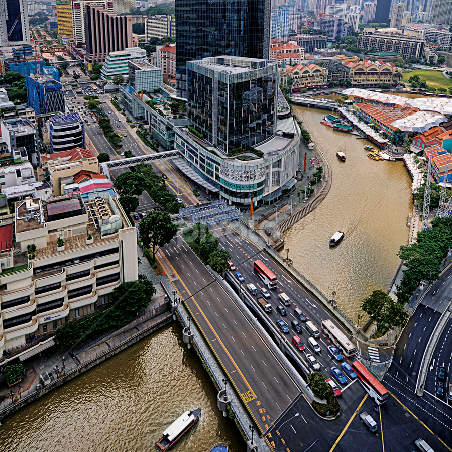 The Singapore River at Clarke Quay  by William Cho - Landscapes Travel ( riverside point, ©williamcho2012, hill street, riverwalk apartments, clarke quay, coleman bridge, central, singapore, river )
