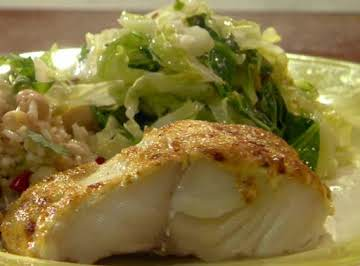 Curry-Topped Black Cod with Cumin-Scented Warm Savoy Slaw