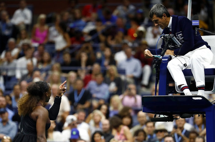 Serena Williams argues with umpire Carlos Ramos after her defeat in the Women's Singles finals match to Naomi Osaka of Japan on Day Thirteen of the 2018 US Open at the USTA Billie Jean King National Tennis Center.