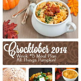 Slow Cooker Pumpkin Spinach Macaroni and Cheese.