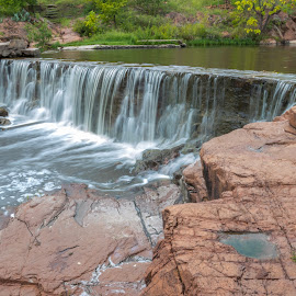 by Kathy Suttles - Nature Up Close Rock & Stone ( falls, medicine park, bath lake, water falling, long exposure, oklahoma, suttleimpressions,  )