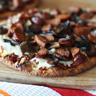 Andouille Sausage, Mushroom and Sun-dried Tomato Naan Pizza.