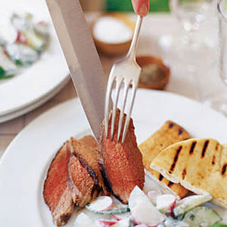 Butterflied Leg of Lamb with Minted Cucumber Salad.