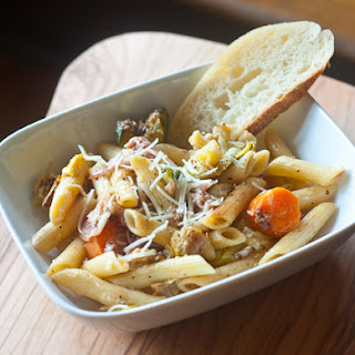 Penne with Roasted Vegetables and Prosciutto