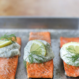 Salmon with Creamy Garlicky Dill Sauce.