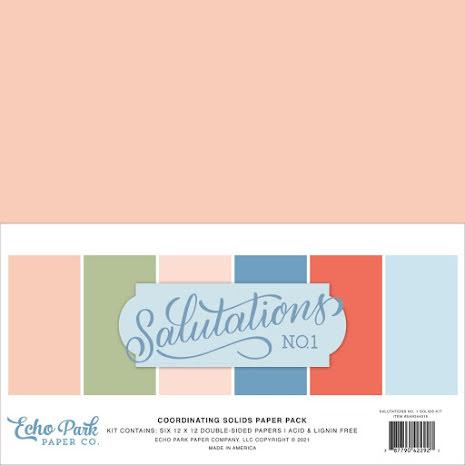 Echo Park Solid Cardstock 12X12 6/Pkg - Salutations No. 1