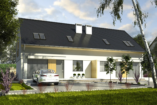 projekt Szczęśliwa z garażem 1-st. bliźniak A-BL2