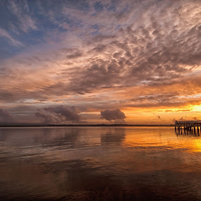 Island Bay sunset, Auckland Harbour by Graeme Hunter - Landscapes Sunsets & Sunrises