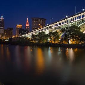 Bridge to the Cleveland Skyline by David Pilasky - Buildings & Architecture Bridges & Suspended Structures ( skyline, night photography, bridge, summer solstice, cleveland flats, cleveland )