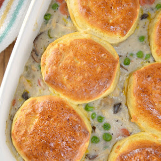 Leftover Turkey or Chicken and Biscuits Casserole.