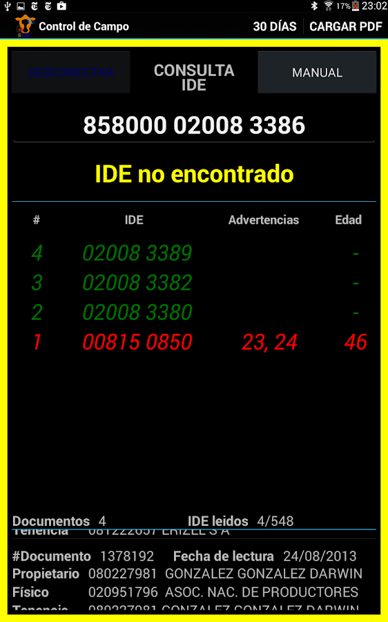 Control de Campo- screenshot