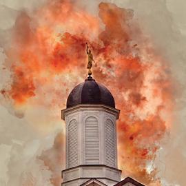 Vernal LDS Temple Watercolor by Valerie Aebischer - Digital Art Places ( mormon temples, mormon temple, lds temple, lds, mormon, lds temples, vernal ut lds temple )