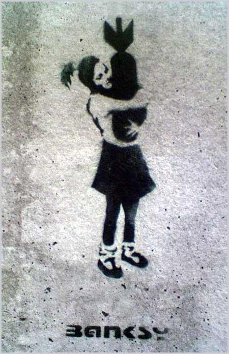 Banksy Girl Bomb Hugger London East End