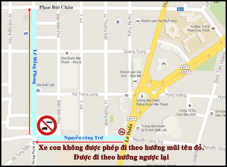 Đường cấm xe ô tô ở Buôn Ma Thuột - Đăk Lăk