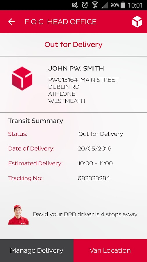 DPD Ireland- screenshot