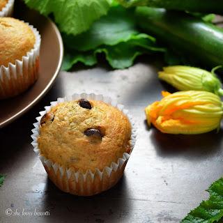 Healthy Dark Chocolate Chip Zucchini Muffins.