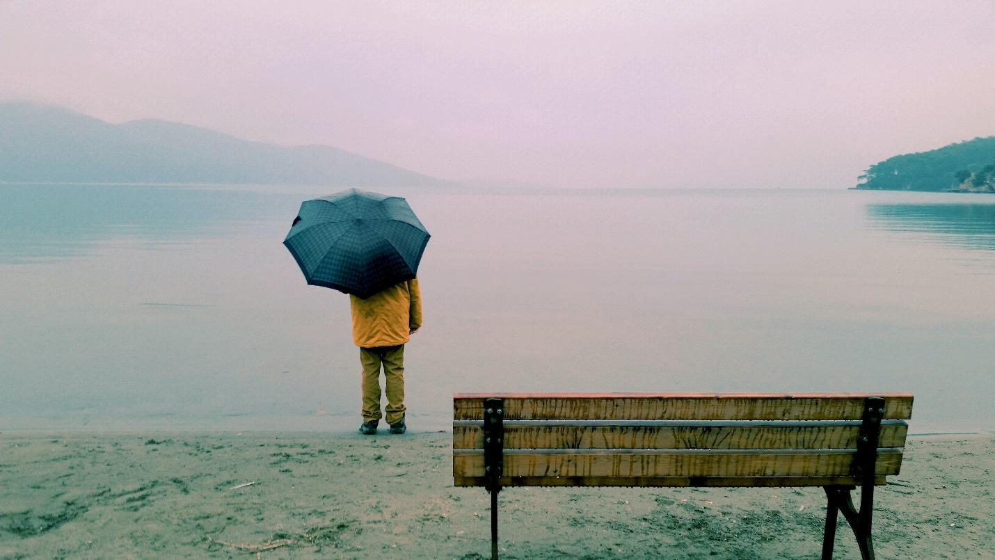 A person standing on a bench with a blue umbrella over their head  Description automatically generated with medium confidence