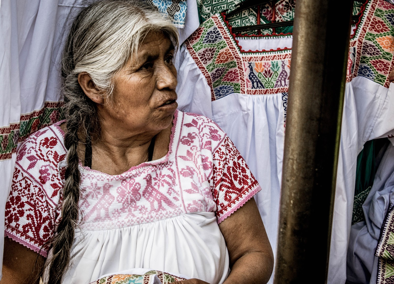 A Mexican woman wearing traditional clothing.