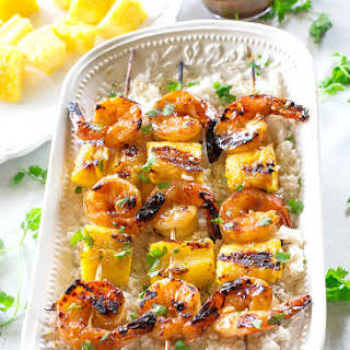 Grilled Shrimp and Pineapple Skewers over Coconut Rice.