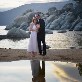 The reflection of love by John & Sharon Green - Wedding Bride & Groom ( love, reflection, wedding, beach, bride, groom, lake tahoe )