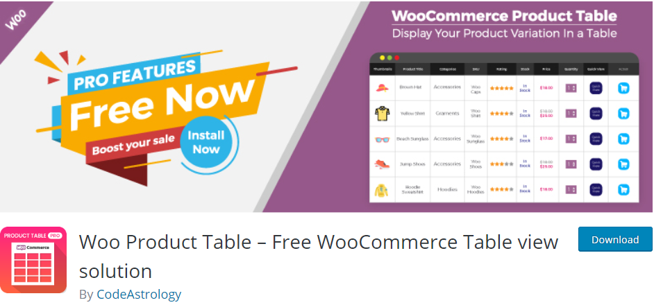 WooCommerce product table alternative free