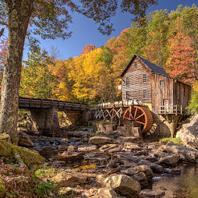 by Walter Farnham - Buildings & Architecture Public & Historical ( glade creek mill, color, grist mill, fall, morning )
