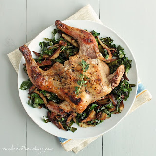 Cornish Game Hens with Shitakes & Chard (Low Carb & Gluten Free).