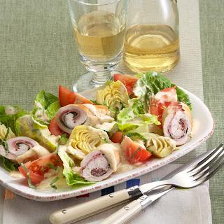 Schnitzelröllchen-Salat