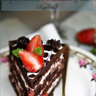 Old Fashioned {Eggless} Layered Chocolate Cake with Balsamic Strawberries & Cream