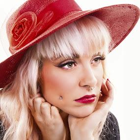 by Alexandra Way - People Portraits of Women ( red, head shot, lipstick, piercings, pretty, hat )
