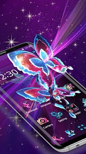 Neon Butterfly Badge Theme - náhled