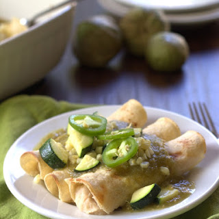 White Bean Enchiladas Verde with Roasted Corn and Zucchini
