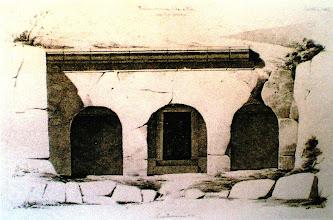 Photo: Fig. 1.  Prospetto Tomba del Peccato, Faleri, disegno (1825-30)