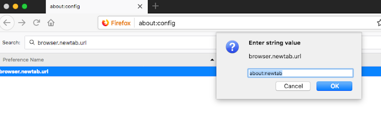 Reset browser new tab URL