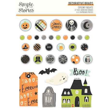 Simple Stories Self-Adhesive Brads 33/Pkg - Spooky Nights