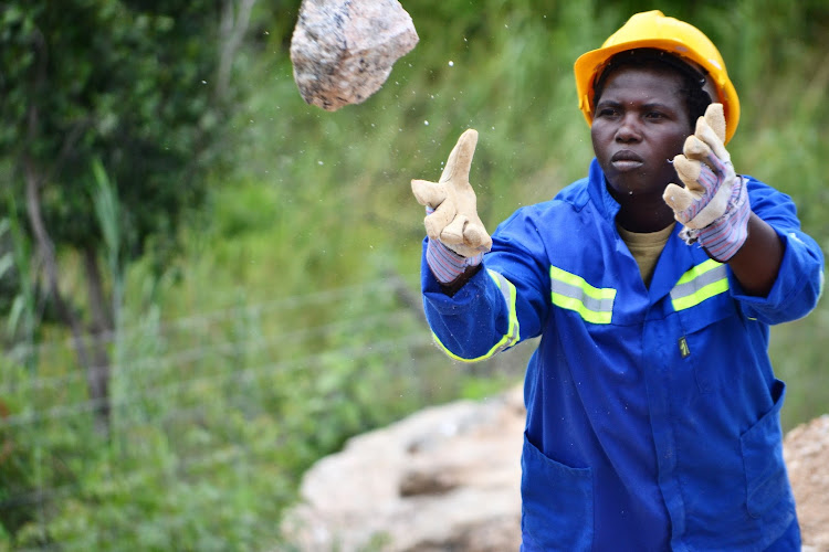 One of the miners at Zimbaqua in Zimbabwe. The mine is Africa's first all-women operation.