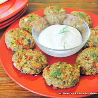 Baked Salmon Cakes with Dill Yogurt Sauce.