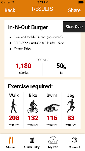 Exercise Calorie Converter screenshot 1