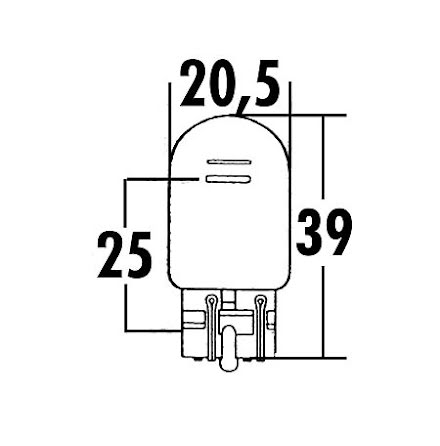 W21/5W, glass base incandescent lamp 12V 21/5W W3x16Q