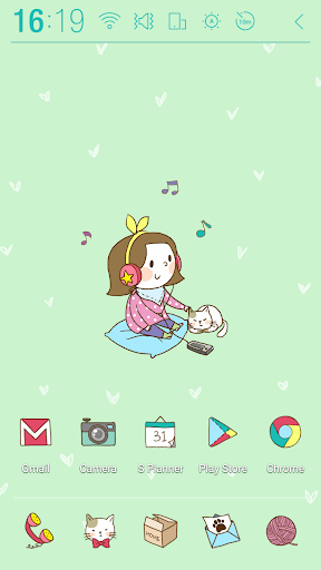 Girl n cat Green Atom Theme