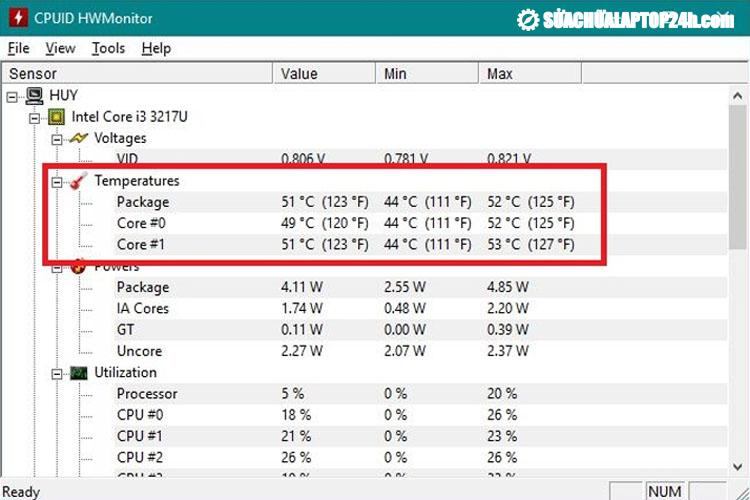 Nhiệt độ laptop được kiểm tra bằng phần mềm