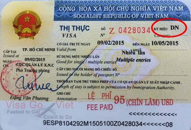 DN of Vietnam visa stamp in 2015