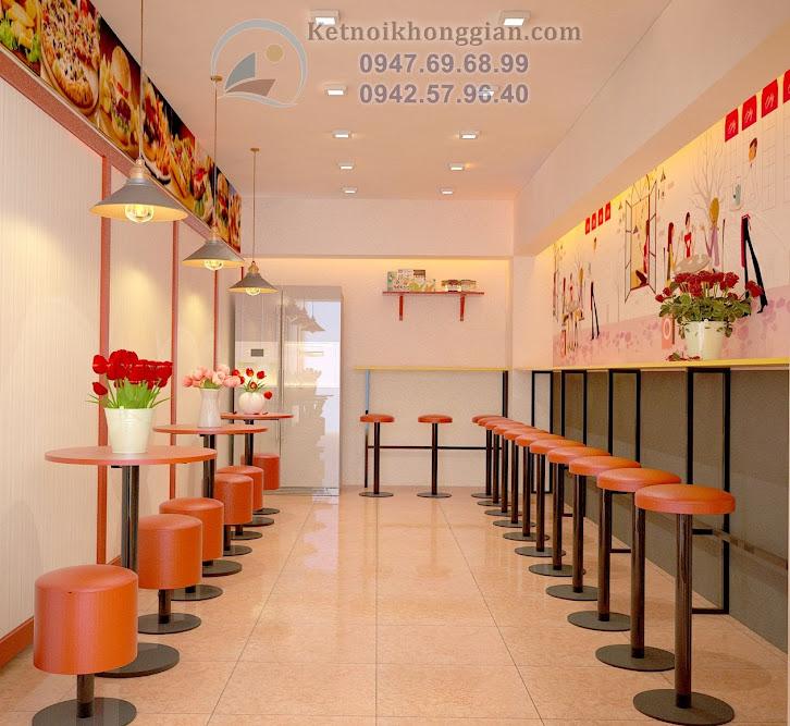 thiết kế quán ăn nhanh ấn tượng với màu nóng