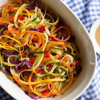Raw Rainbow Ribbon Swirl with Peanut Sauce Recipe
