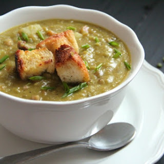 Hearty Split Pea Soup with Lemon & Olive Oil Croutons.